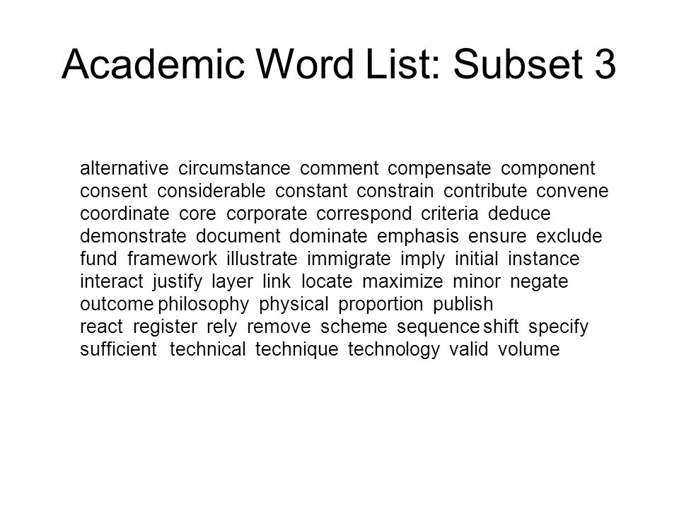 Academic Word List: Subset 3