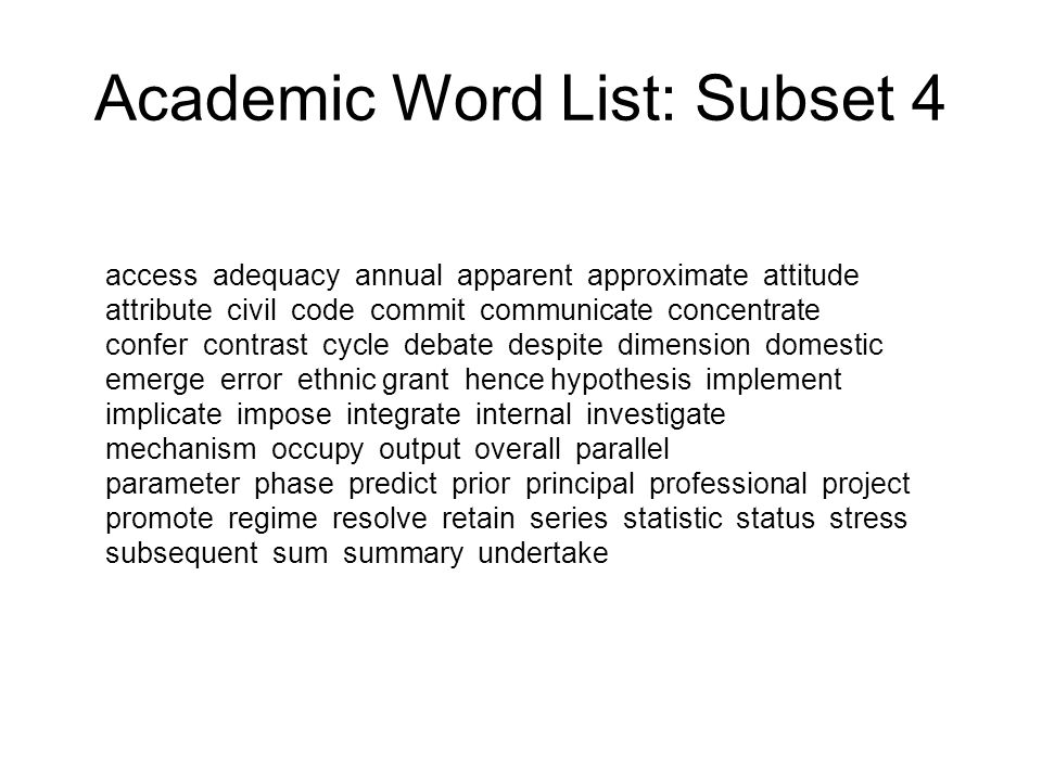 Academic Word List: Subset 4