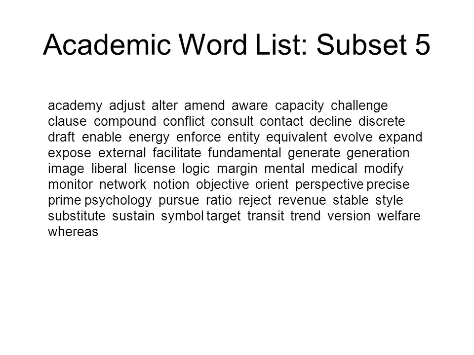 Academic Word List: Subset 5
