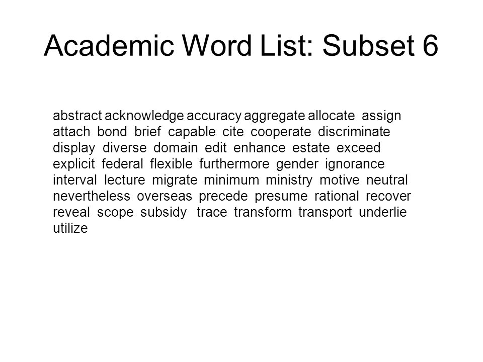 Academic Word List: Subset 6
