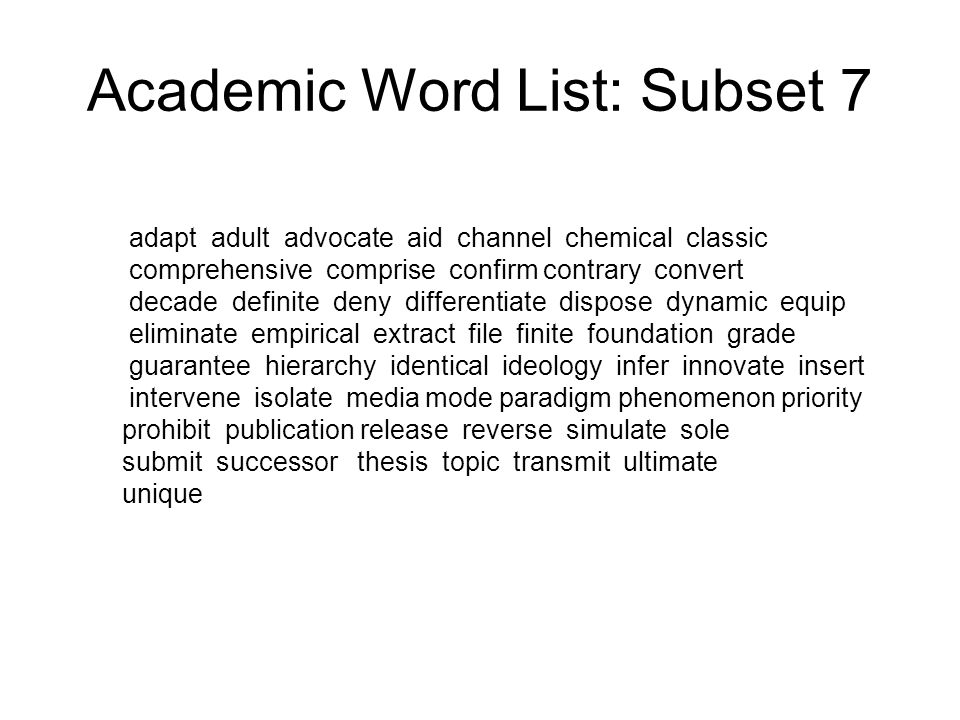 Academic Word List: Subset 7