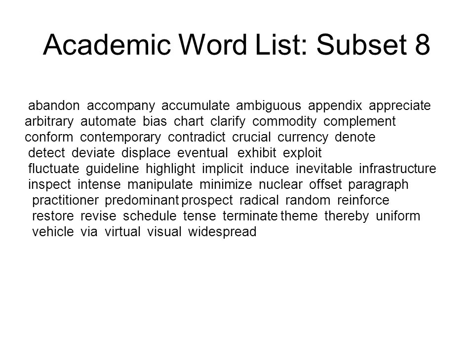 Academic Word List: Subset 8