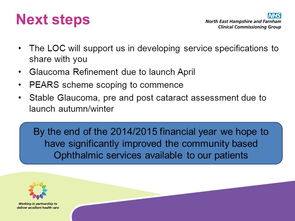 Next steps The LOC will support us in developing service specifications to share with you. Glaucoma Refinement due to launch April.
