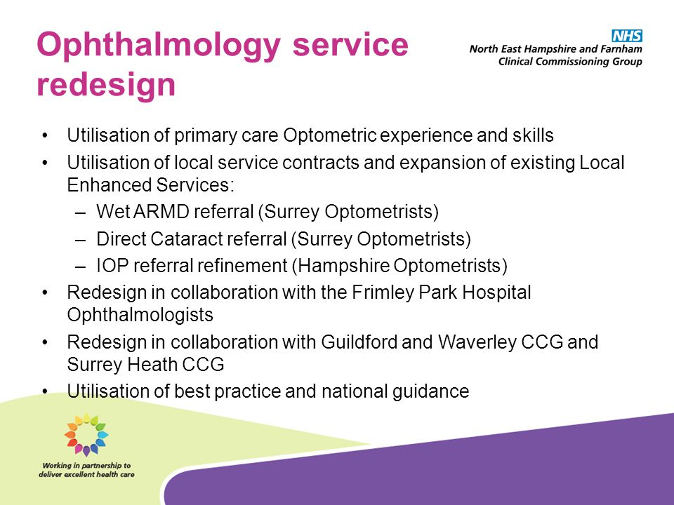 Ophthalmology service redesign