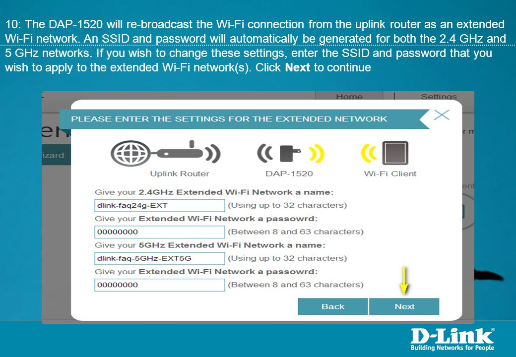 10: The DAP-1520 will re-broadcast the Wi-Fi connection from the uplink router as an extended Wi-Fi network.