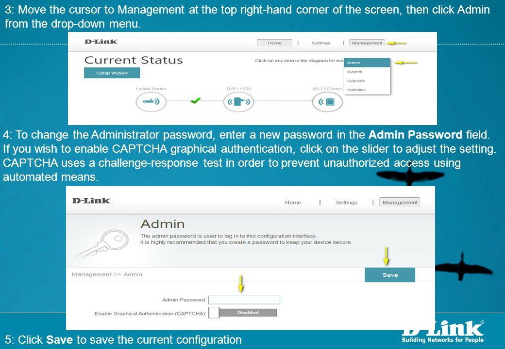 3: Move the cursor to Management at the top right-hand corner of the screen, then click Admin from the drop-down menu.