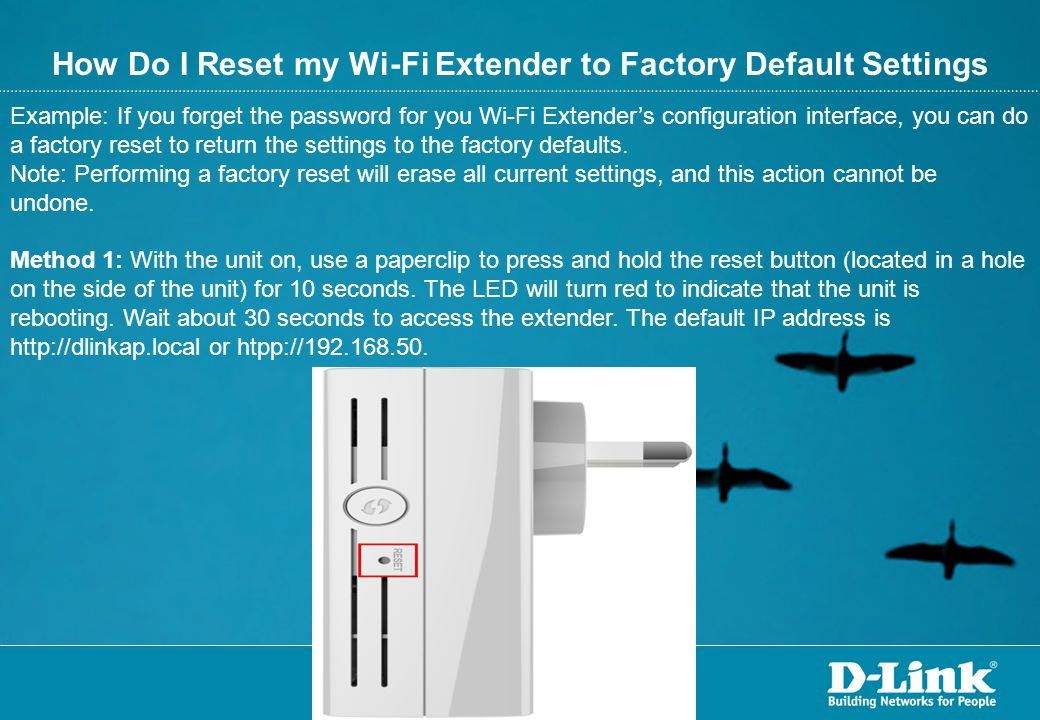 How Do I Reset my Wi-Fi Extender to Factory Default Settings