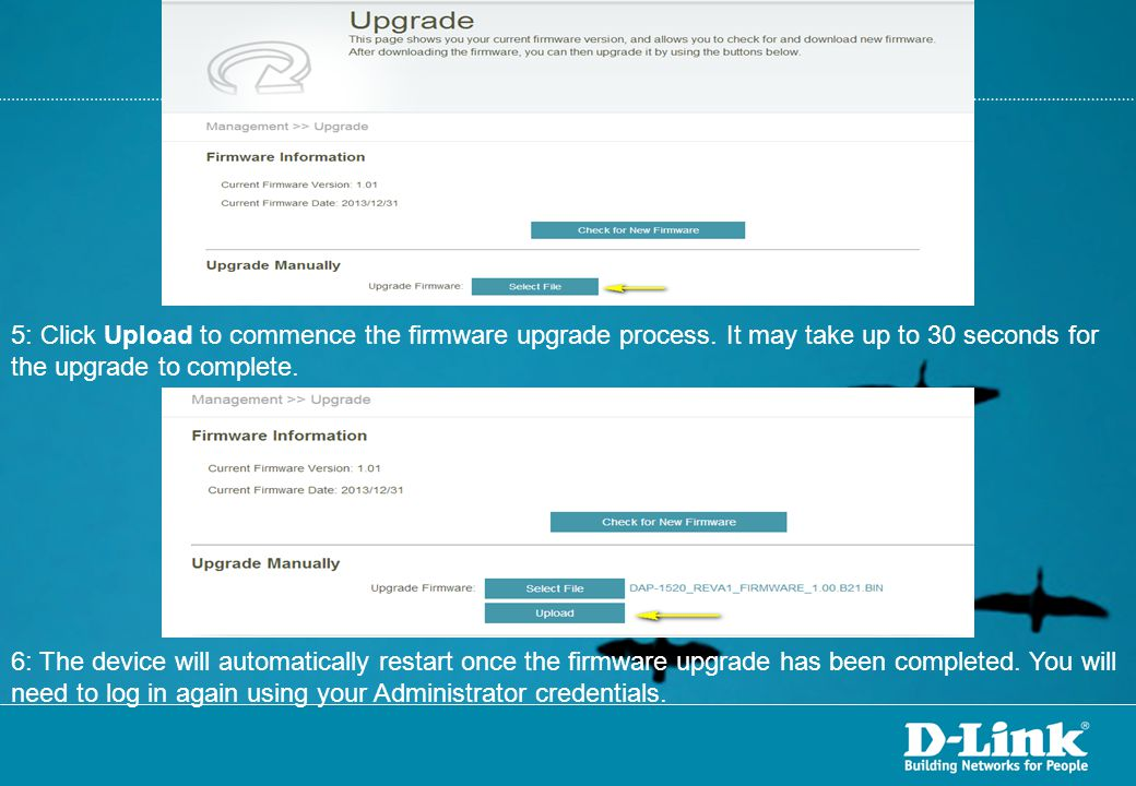 5: Click Upload to commence the firmware upgrade process