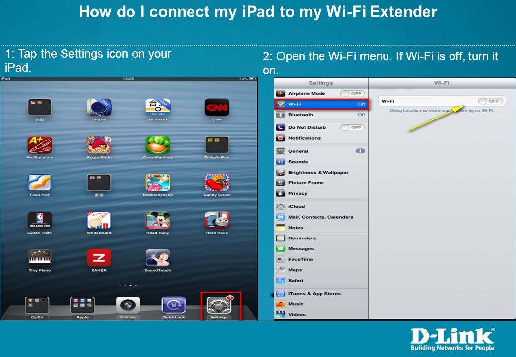 How do I connect my iPad to my Wi-Fi Extender