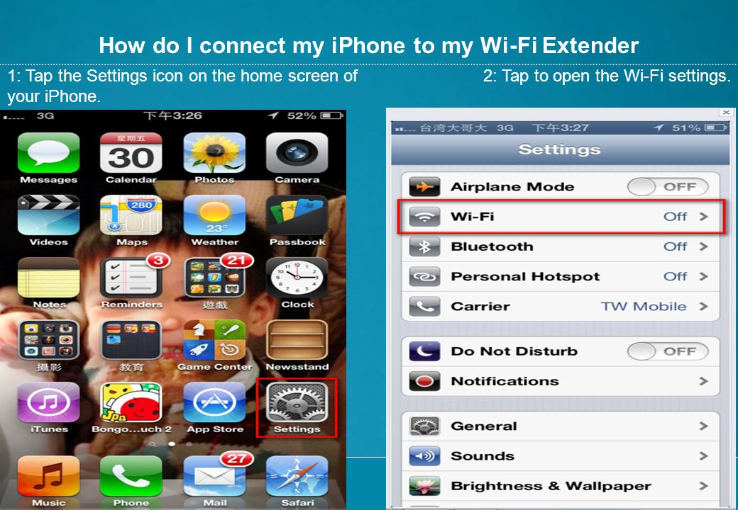 How do I connect my iPhone to my Wi-Fi Extender