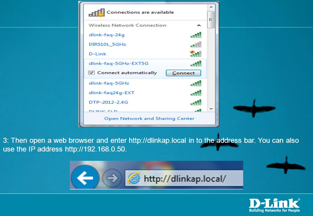 3: Then open a web browser and enter http://dlinkap