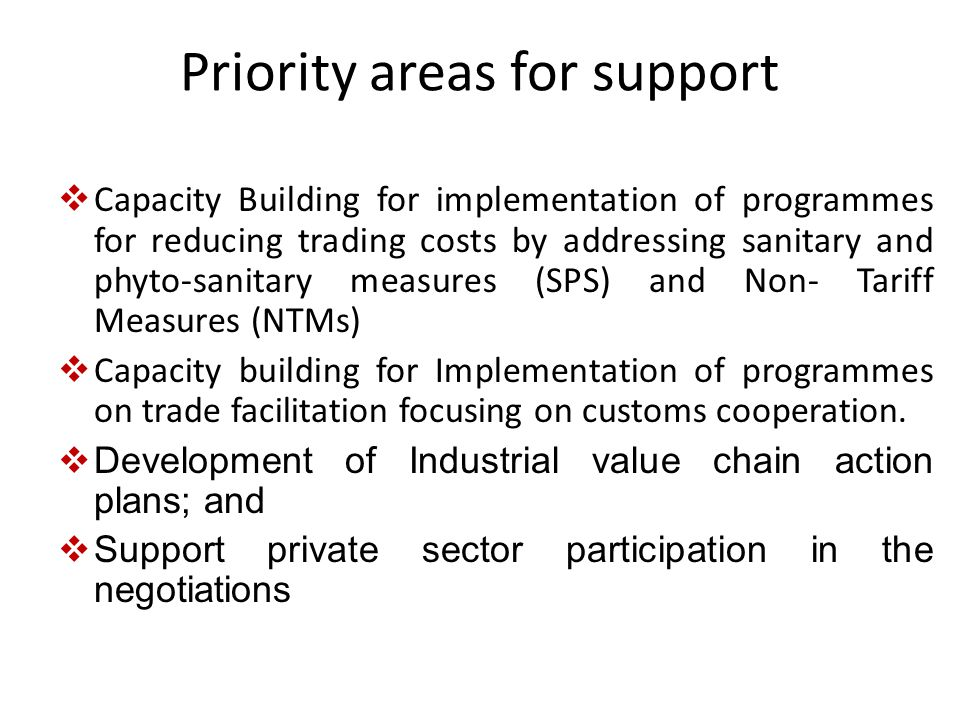 Priority areas for support