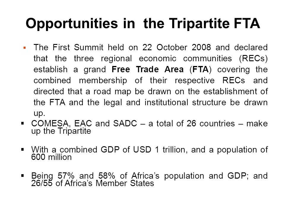 Opportunities in the Tripartite FTA