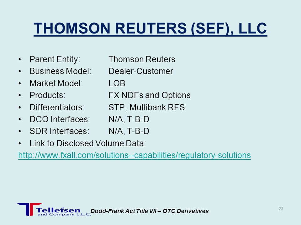 THOMSON REUTERS (SEF), LLC