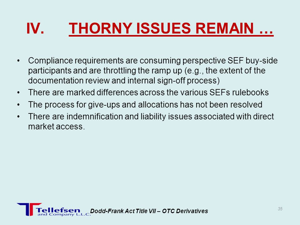 IV. THORNY ISSUES REMAIN …