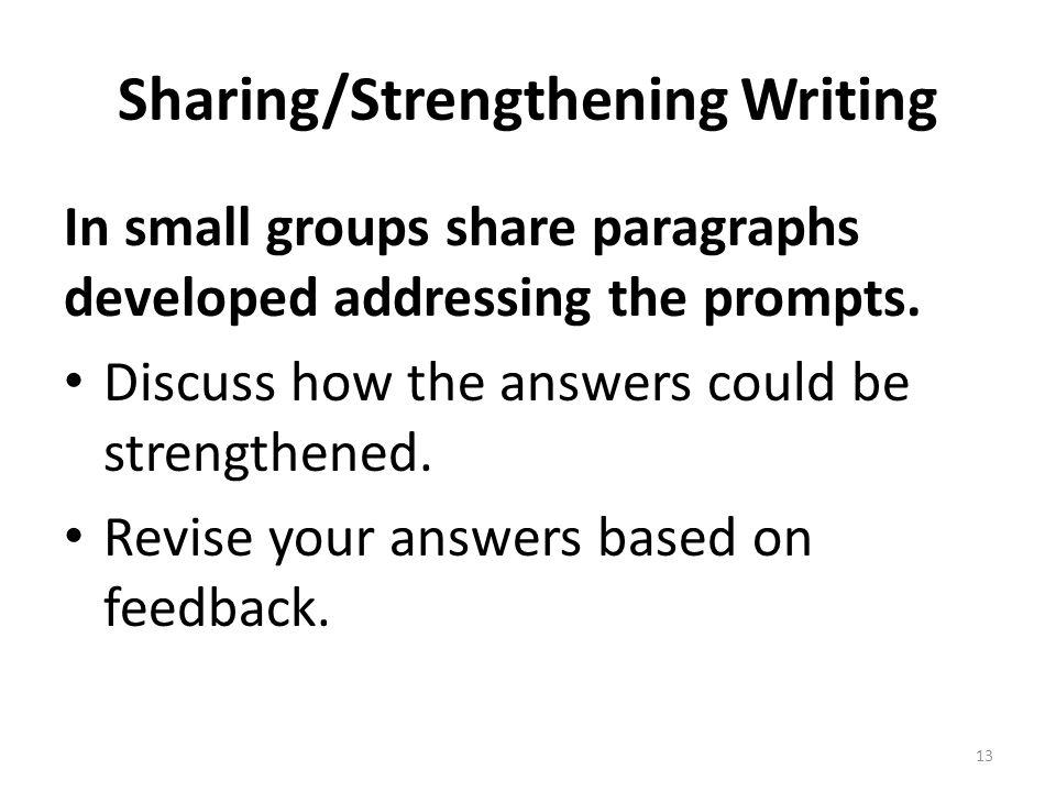 Sharing/Strengthening Writing