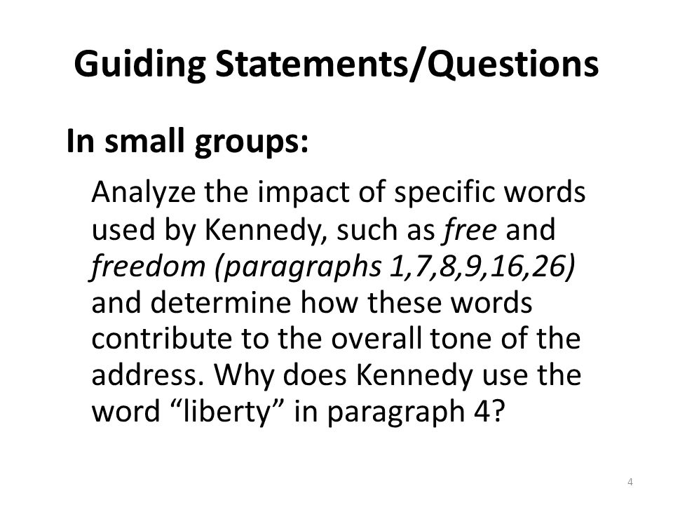Guiding Statements/Questions