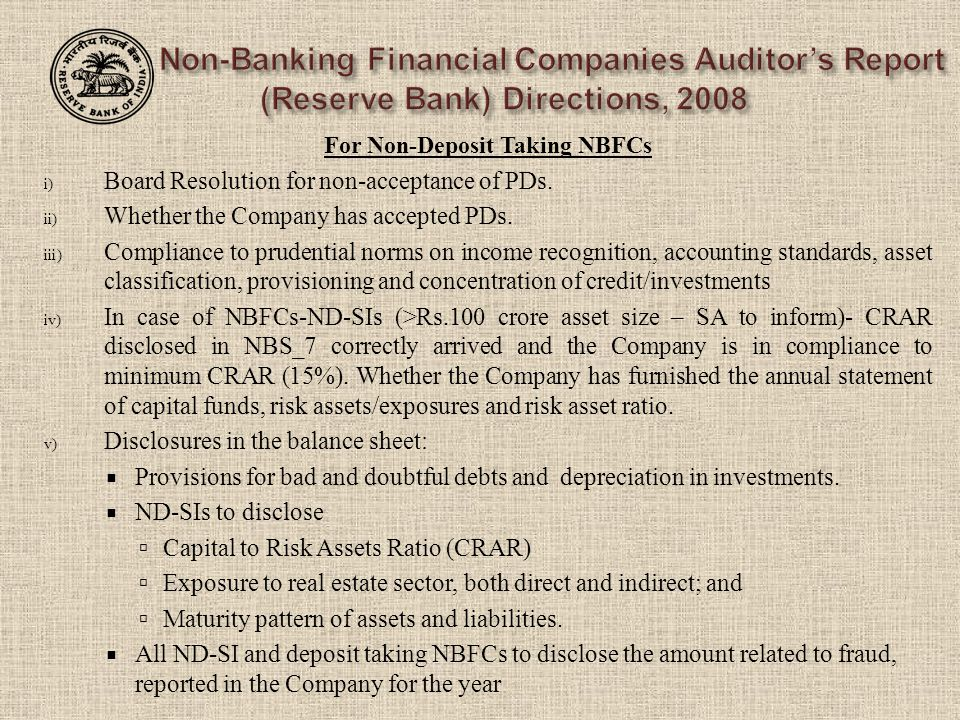 For Non-Deposit Taking NBFCs