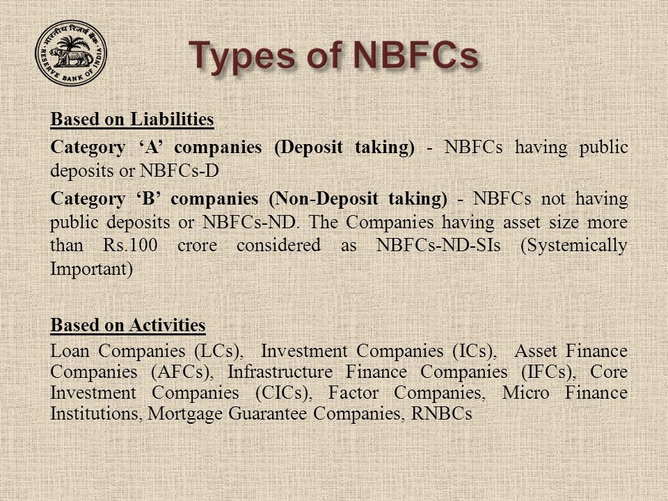 Types of NBFCs