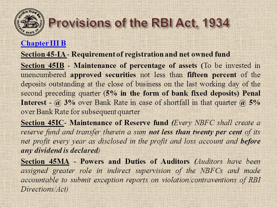 Provisions of the RBI Act, 1934