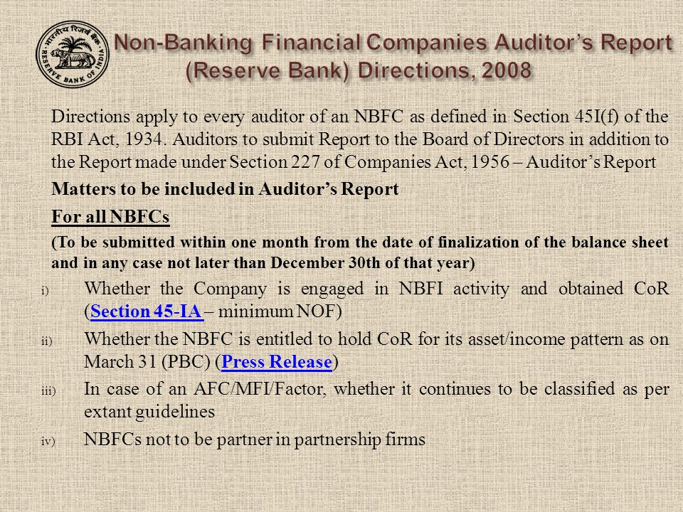 Matters to be included in Auditor's Report For all NBFCs