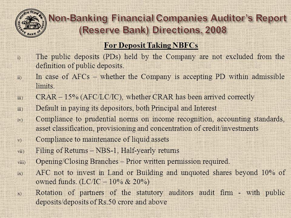 For Deposit Taking NBFCs