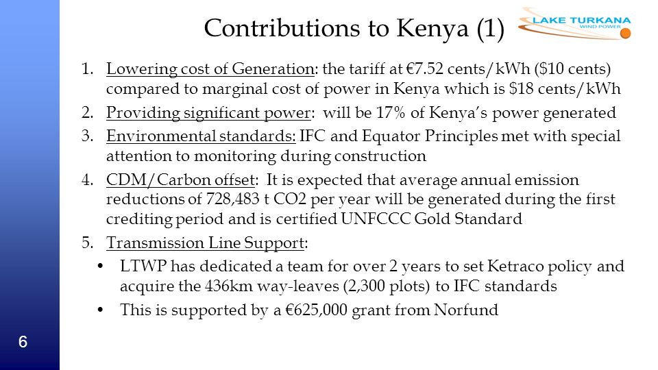 Contributions to Kenya (1)