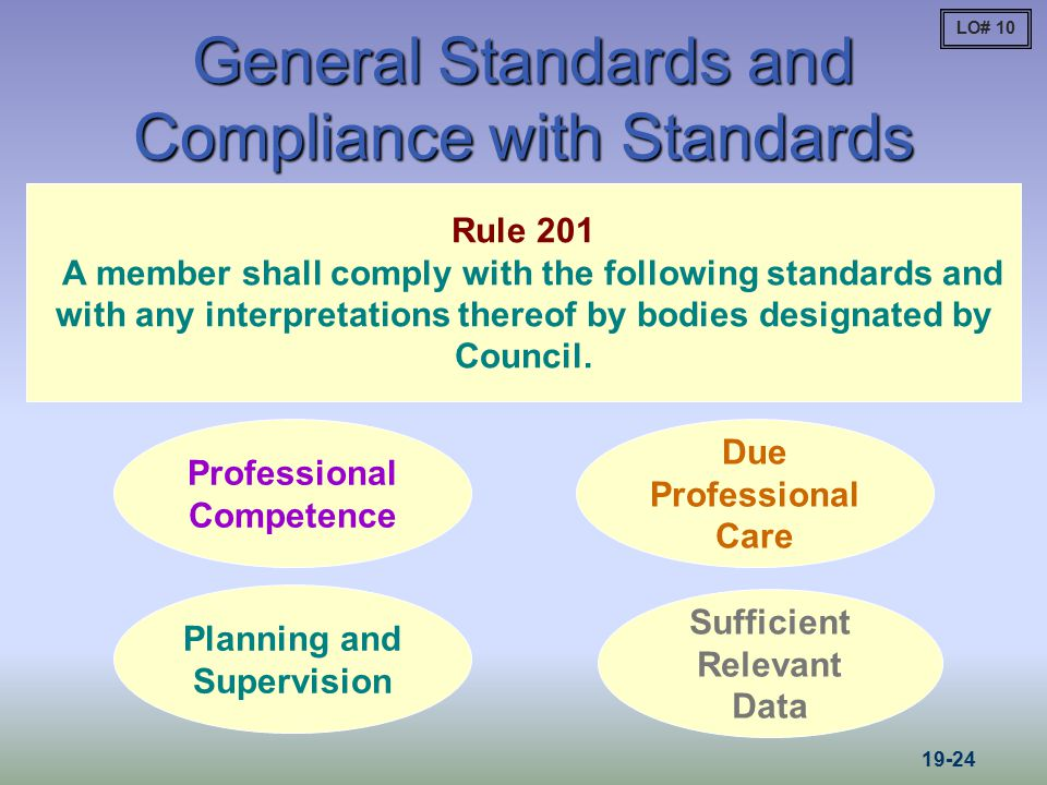 General Standards and Compliance with Standards