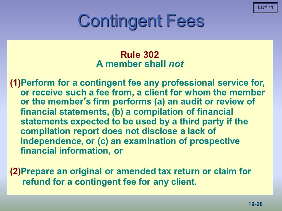 Contingent Fees Rule 302 A member shall not