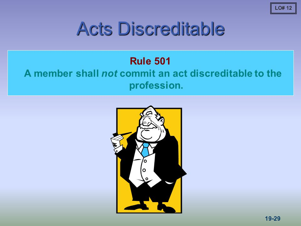 A member shall not commit an act discreditable to the profession.