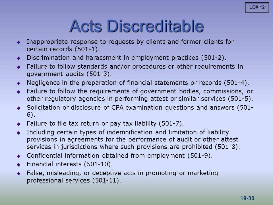 LO# 12 Acts Discreditable. Inappropriate response to requests by clients and former clients for certain records (501-1).