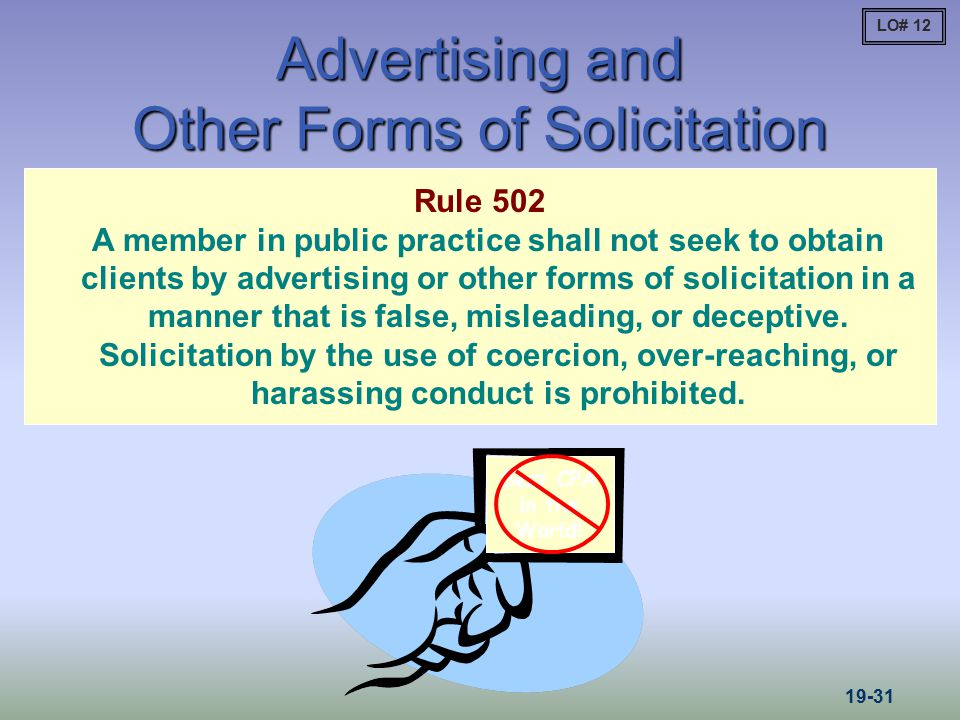 Advertising and Other Forms of Solicitation