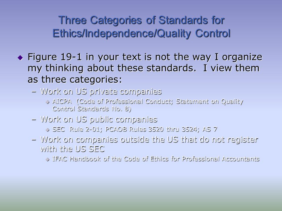 Three Categories of Standards for Ethics/Independence/Quality Control