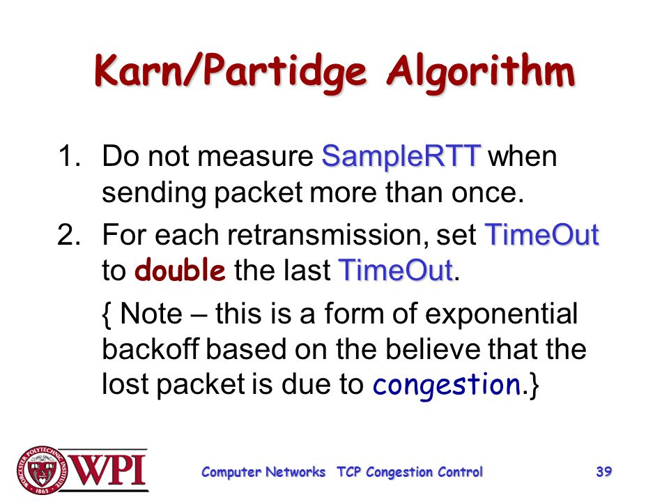 Karn/Partidge Algorithm