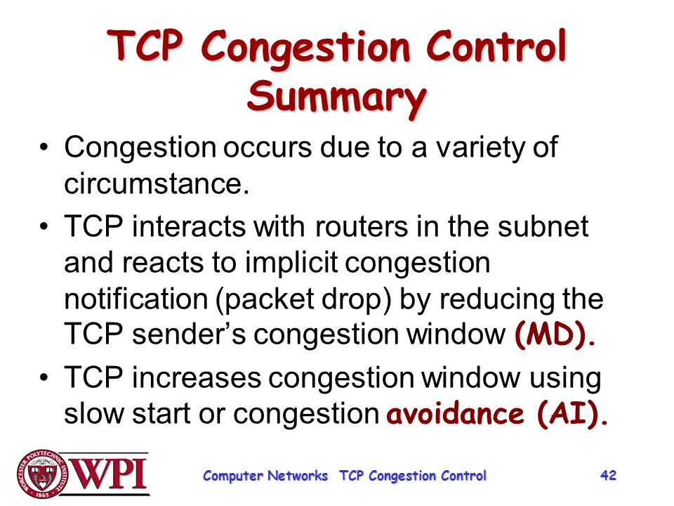 TCP Congestion Control Summary