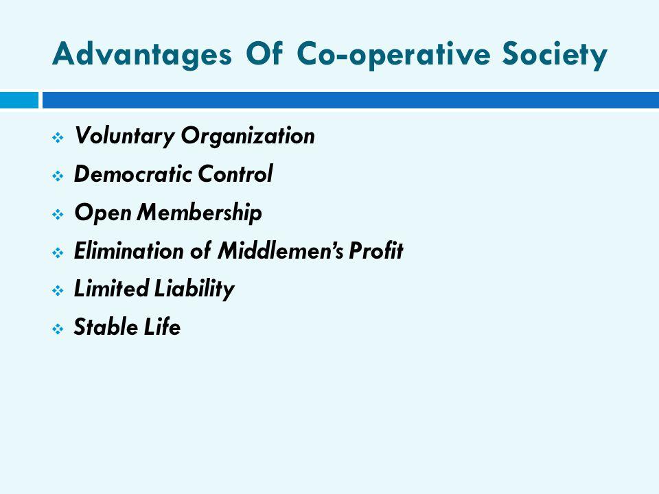Advantages Of Co-operative Society