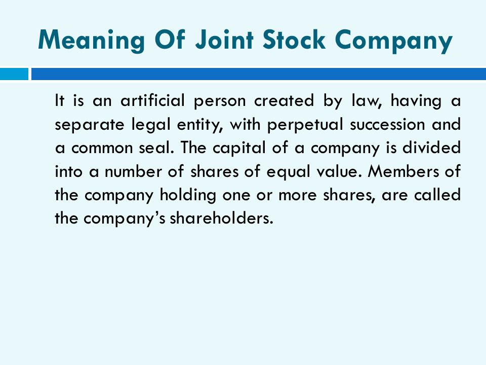 Meaning Of Joint Stock Company