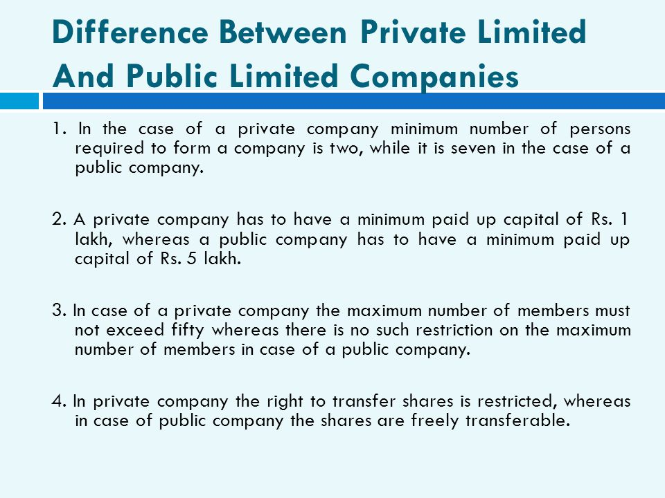 Difference Between Private Limited And Public Limited Companies
