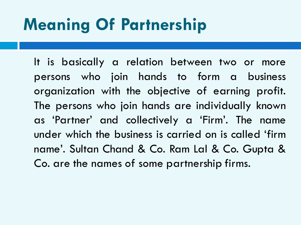 Meaning Of Partnership