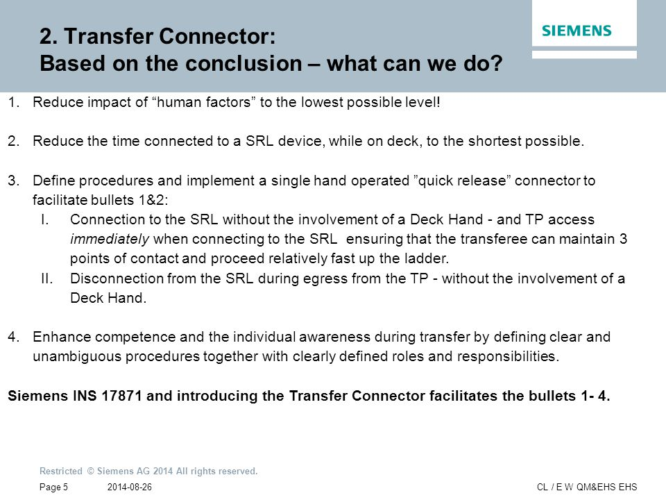 2. Transfer Connector: Based on the conclusion – what can we do