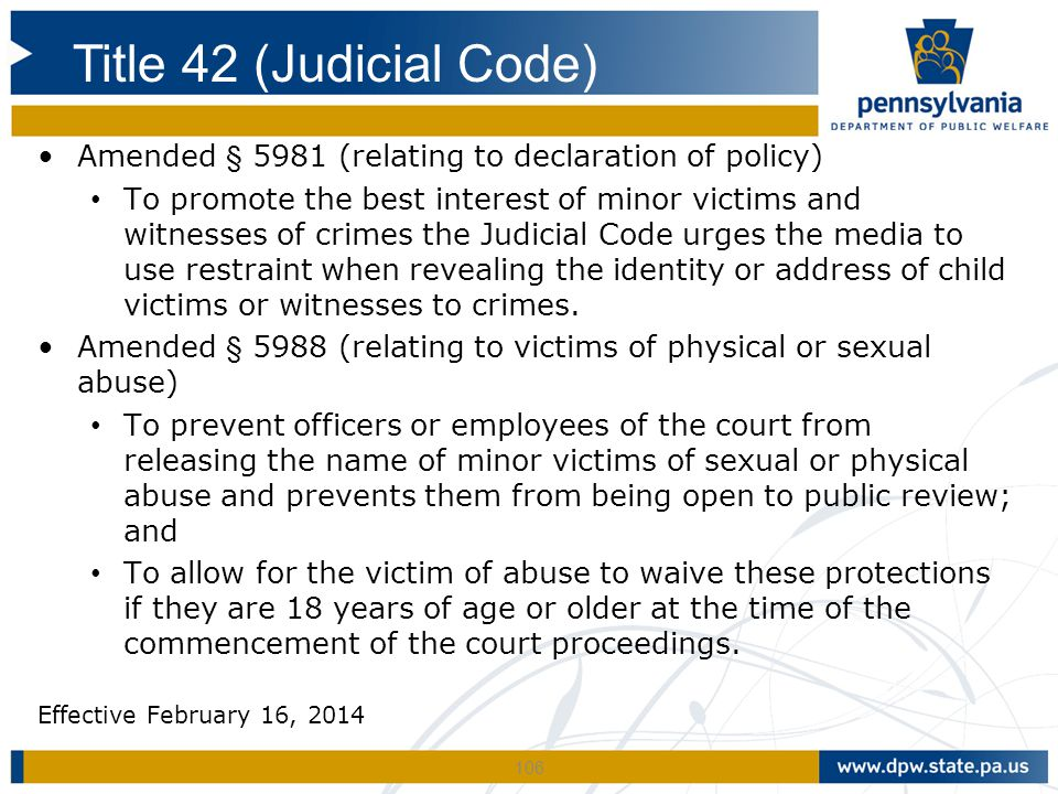 Title 42 (Judicial Code) Amended § 5981 (relating to declaration of policy)