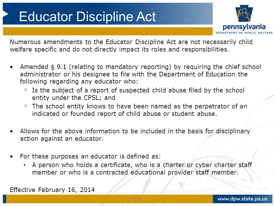 Educator Discipline Act