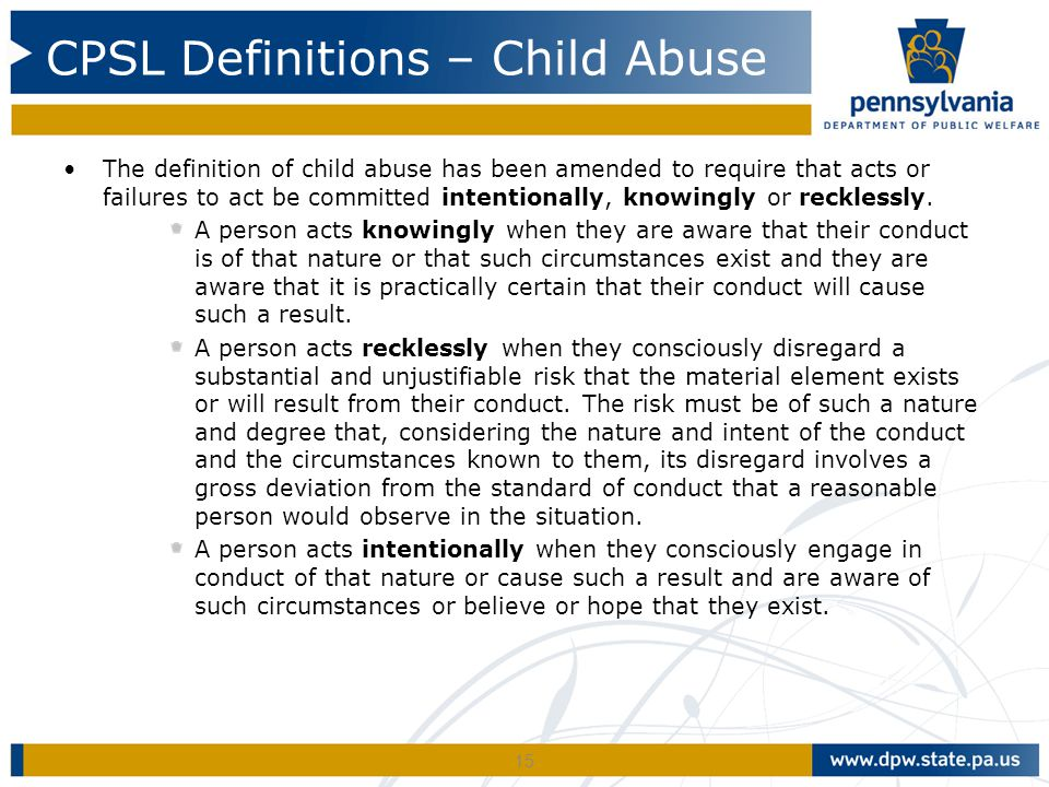 CPSL Definitions – Child Abuse