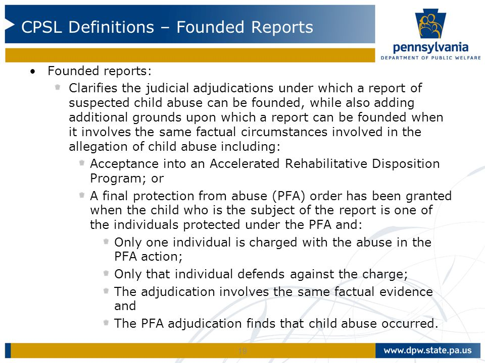 CPSL Definitions – Founded Reports