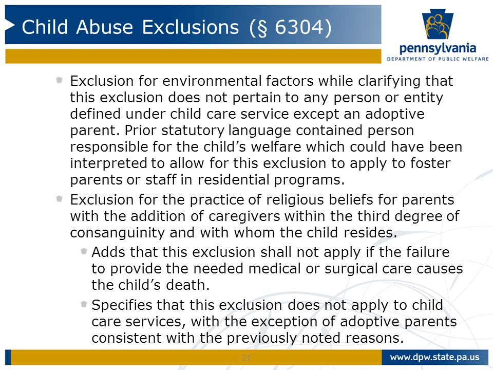 Child Abuse Exclusions (§ 6304)