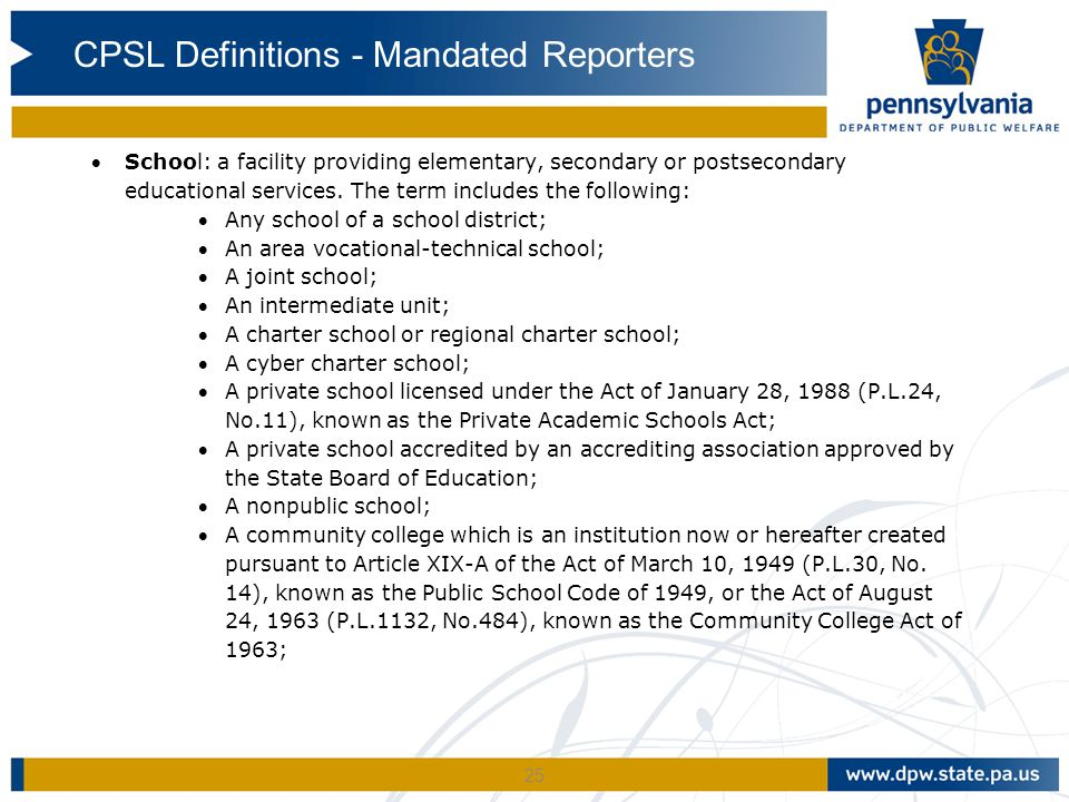 CPSL Definitions - Mandated Reporters