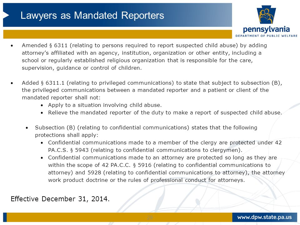 Lawyers as Mandated Reporters