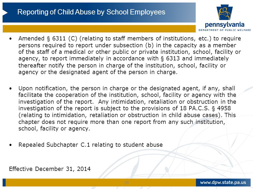 Reporting of Child Abuse by School Employees