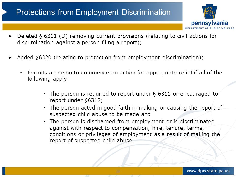 Protections from Employment Discrimination