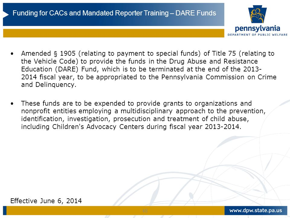 Funding for CACs and Mandated Reporter Training – DARE Funds
